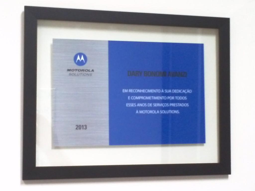 Dary Bonomi Avanzi foi homenageado pela Motorola na sua convenção de canais 2013.
